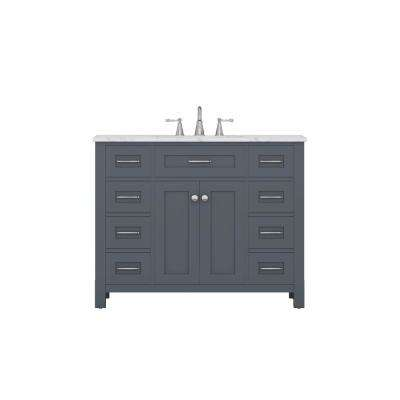 Norwalk 42 in. W x 34.2 in. H x 22 in. D Bath Vanity in Gray with Marble Vanity Top with White Basin