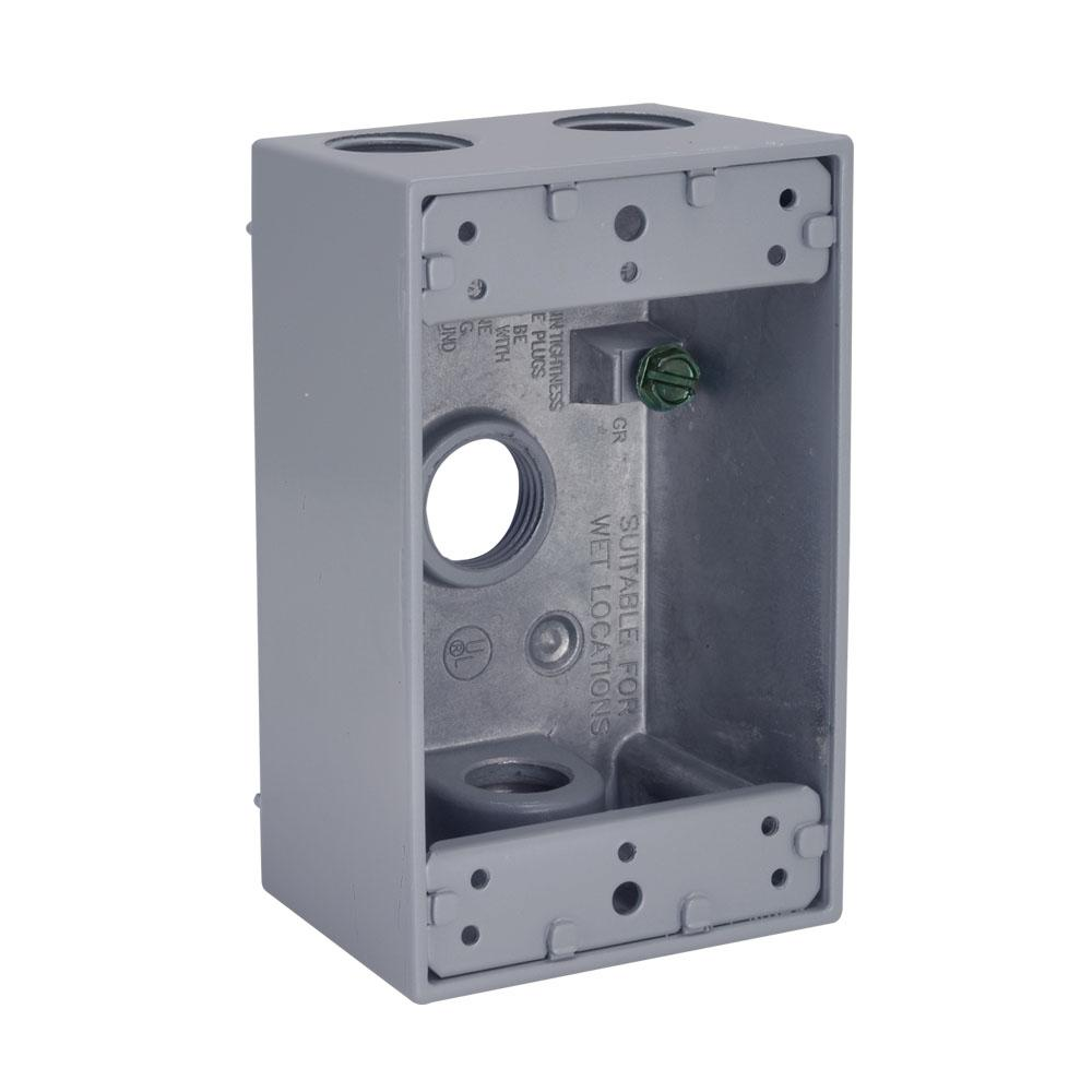 4 4 Weatherproof Electrical Box: BELL Gray 1-Gang 4-Outlets 1/2 In. Threaded Weatherproof