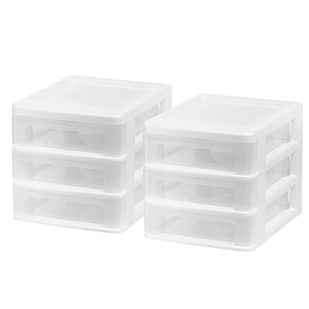 IRIS Compact 3-Drawer Desktop Organizer in White (2-Pack)