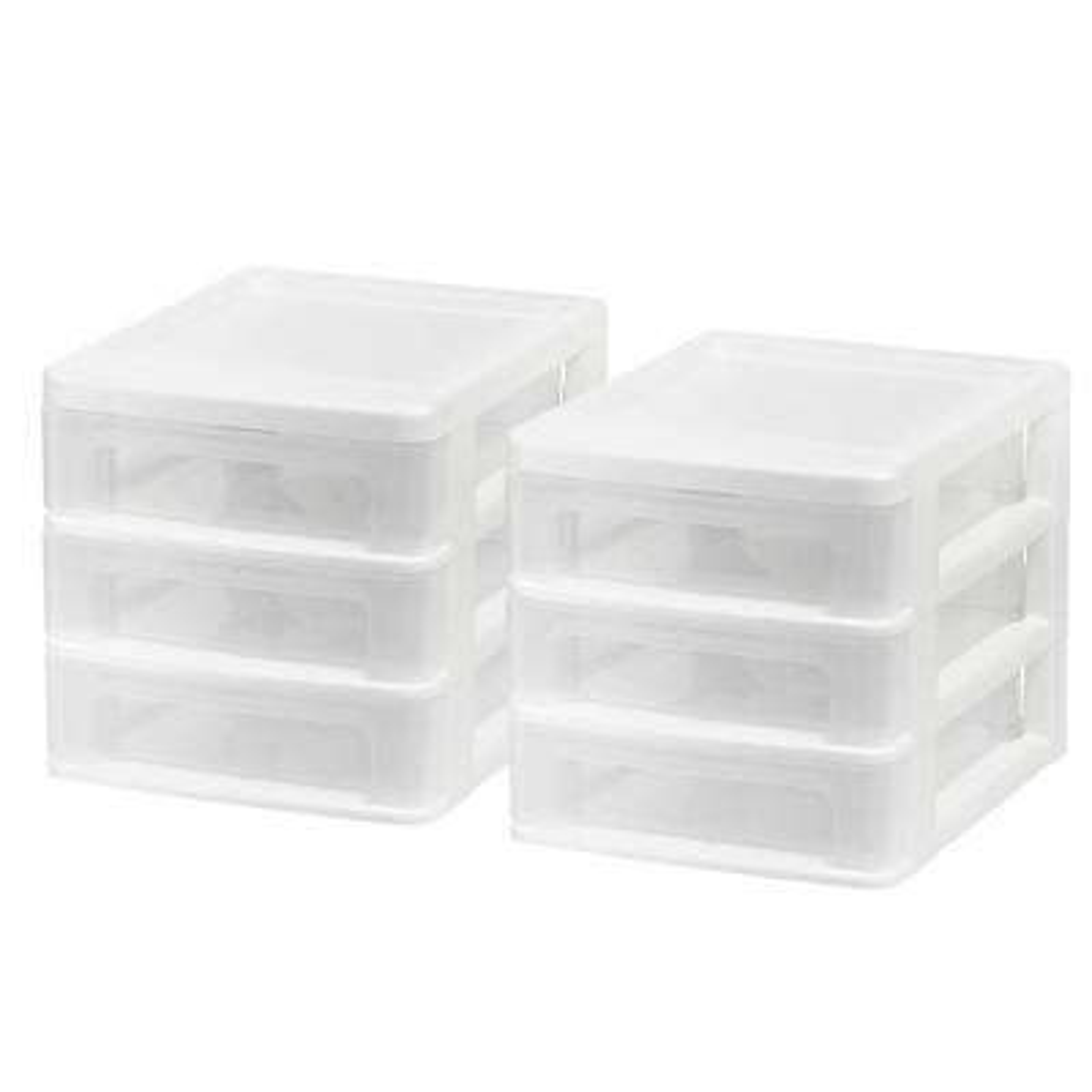 Compact 3-Drawer Desktop Organizer in White (2-Pack)