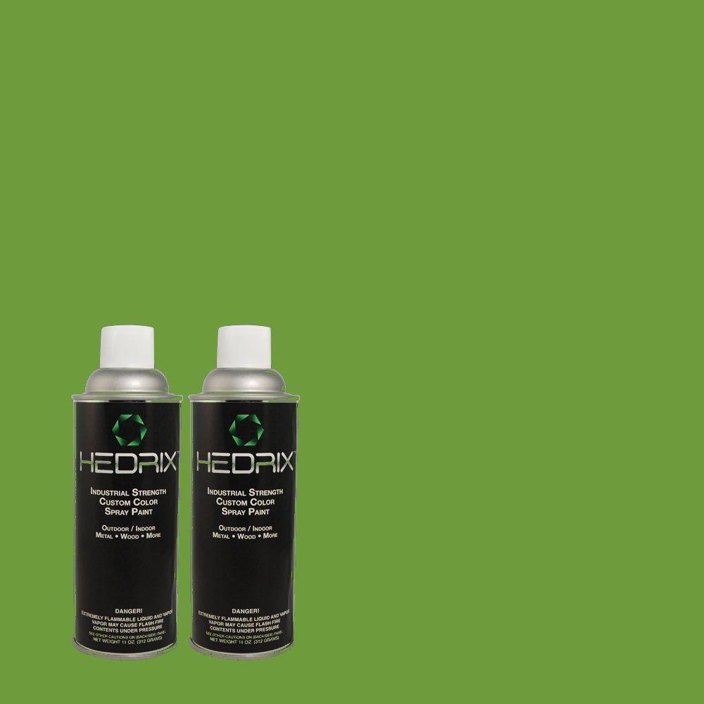 Hedrix 11 oz. Match of 430B-7 Cress Green Gloss Custom Spray Paint (2-Pack)