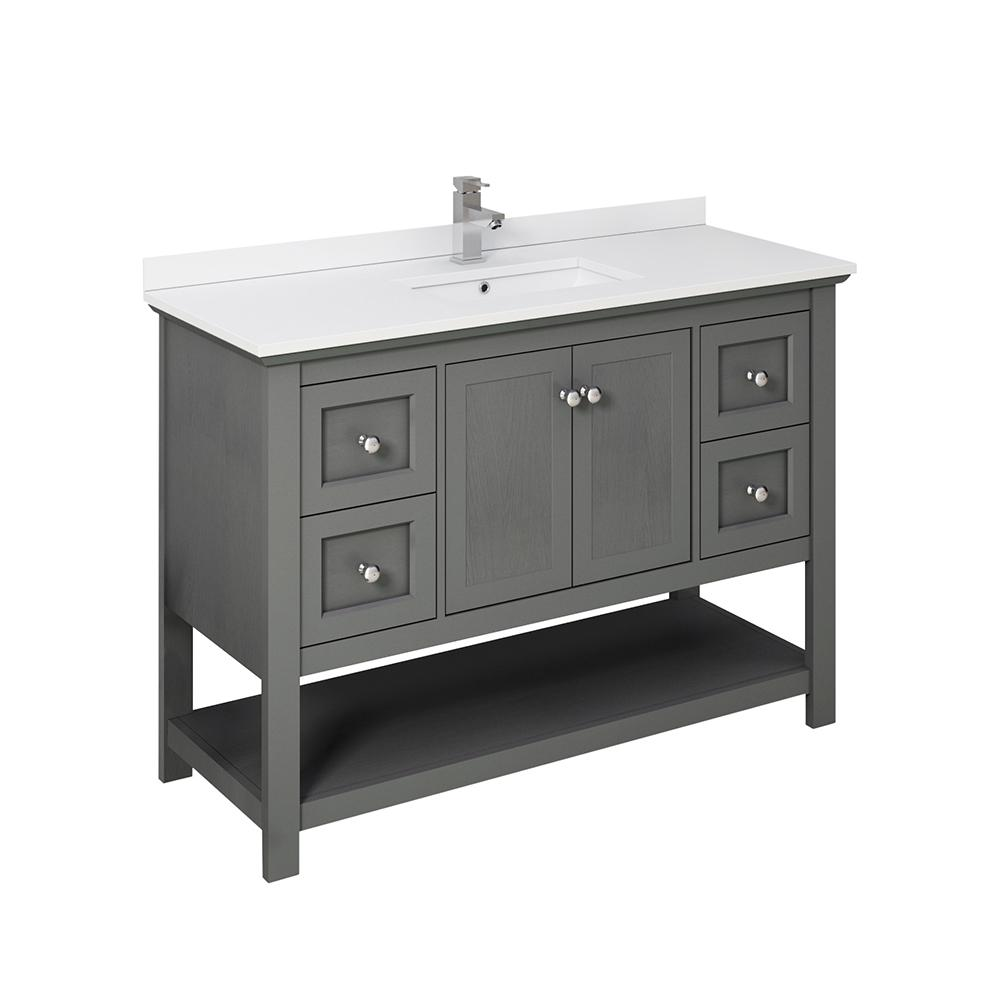 Fresca Manchester Regal 48 in. W Bathroom Vanity in Gray Wood with Ceramic Vanity Top in White with White Basin