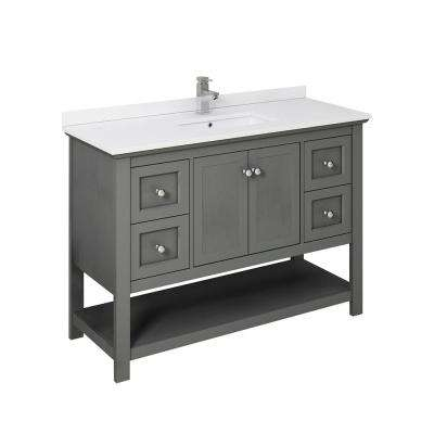 Manchester Regal 48 in. W Bathroom Vanity in Gray Wood with Ceramic Vanity Top in White with White Basin