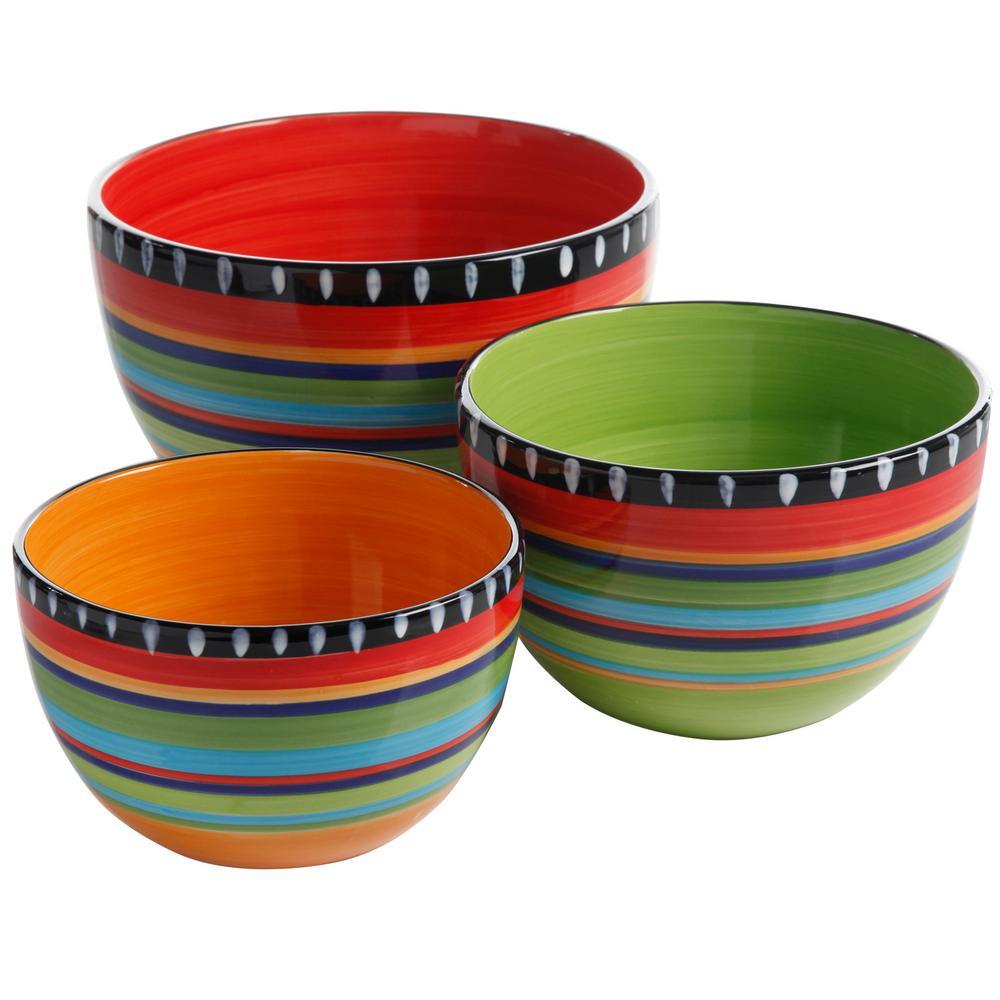 Pueblo Springs 3-Piece Assorted Sizes Multicolor Bowl Set