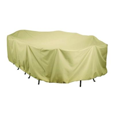 144 in. Khaki Oval/Rectangular Patio Table Set Cover
