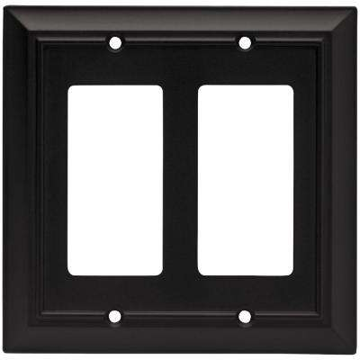 Architectural Decorative Double Rocker Switch Plate, Flat Black