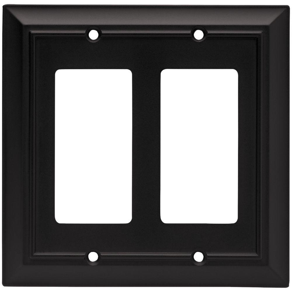 Black 2-Gang Decorator/Rocker Wall Plate (1-Pack)
