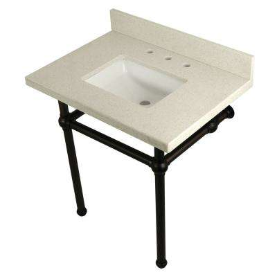 Square-Sink Washstand 30 in. Console Table in White Quartz with Metal Legs in Oil Rubbed Bronze