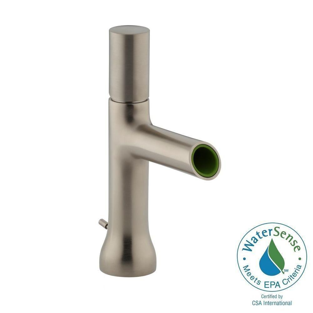 KOHLER Toobi Single Hole Single Handle Low-Arc Water-Saving Bathroom Faucet in Vibrant Brushed Nickel