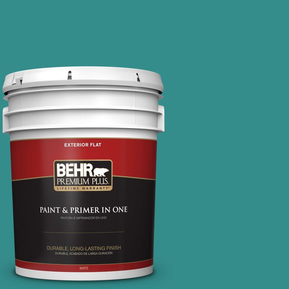 BEHR Premium Plus Home Decorators Collection 5-gal. #hdc-FL13-12 Taos Turquoise Flat Exterior Paint