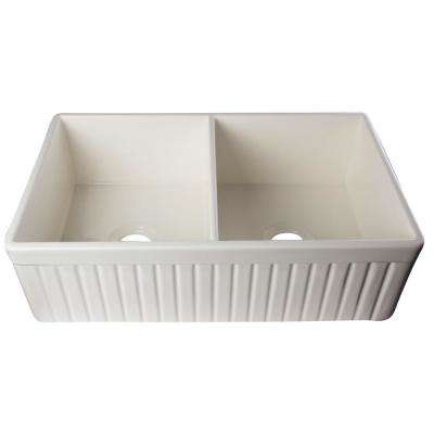 Fluted Farmhouse Apron Fireclay 32 in. Double Basin Kitchen Sink in Biscuit