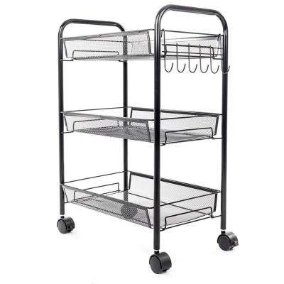 3-Tiers Iron Exquisite Honeycomb Net Storage Cart Rack Organizer Shelf in Black