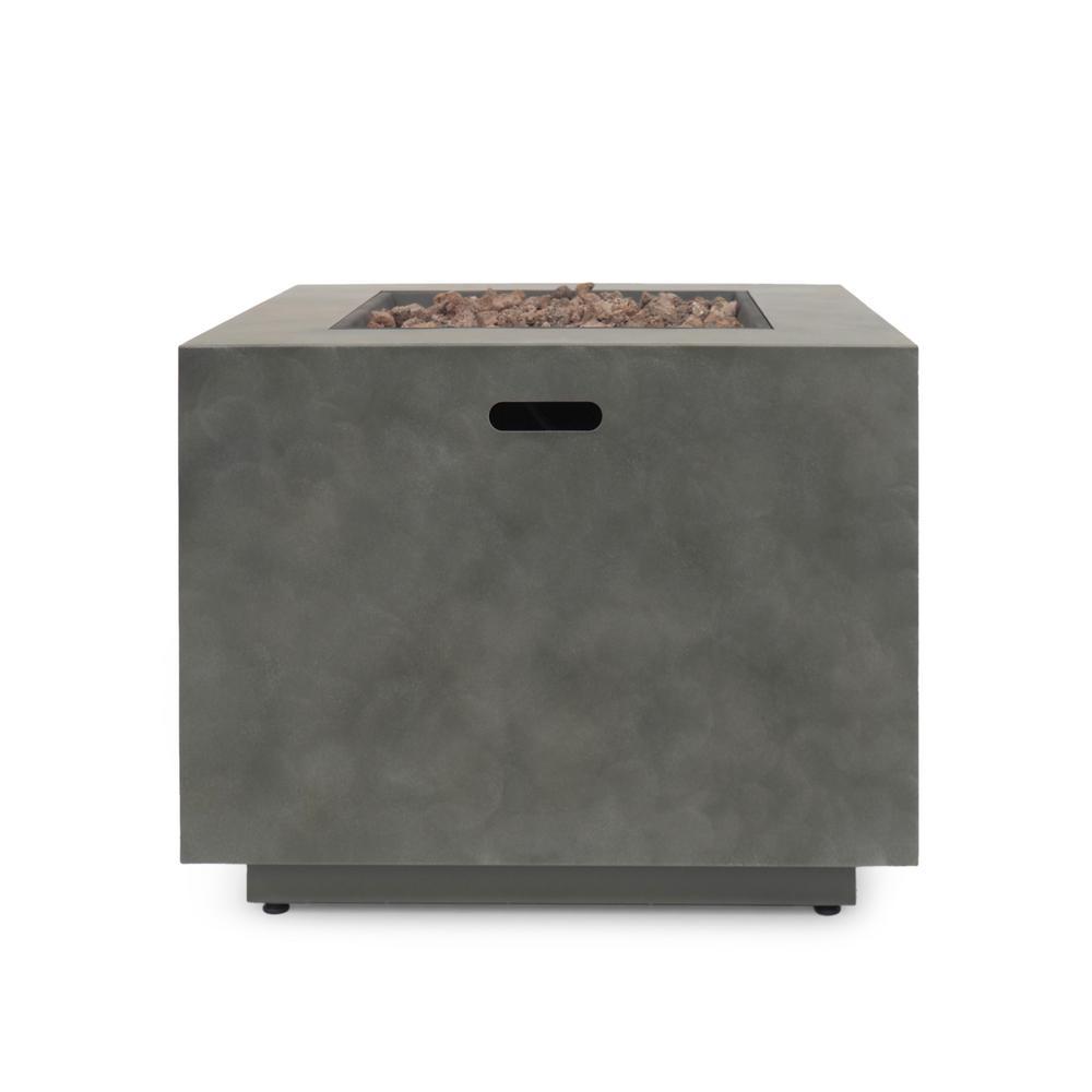 Wellington 33 in. x 24 in. Square Concrete Propane Fire Pit in Dark Grey