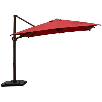 10 ft. x 10 ft. 360-Degree Rotating Aluminum Cantilever Patio Umbrella with Base Weight in Dark Red