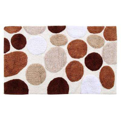 Bath Rug Cotton 50 in. x 30 in. Latex Spray Non-Skid Backing Multiple Brown Pebble Stone Pattern Machine Washable