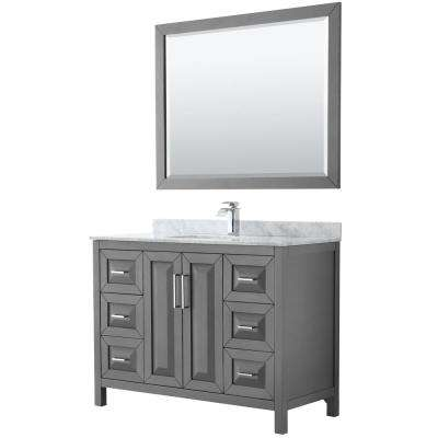 Daria 48 in. Single Bathroom Vanity in Dark Gray with Marble Vanity Top in Carrara White and 46 in. Mirror
