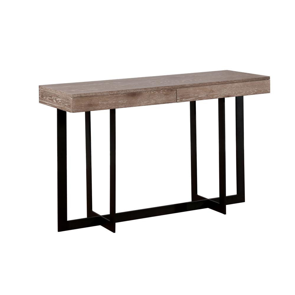 Booth Gray Wash With Sand Black Metal Sofa Table