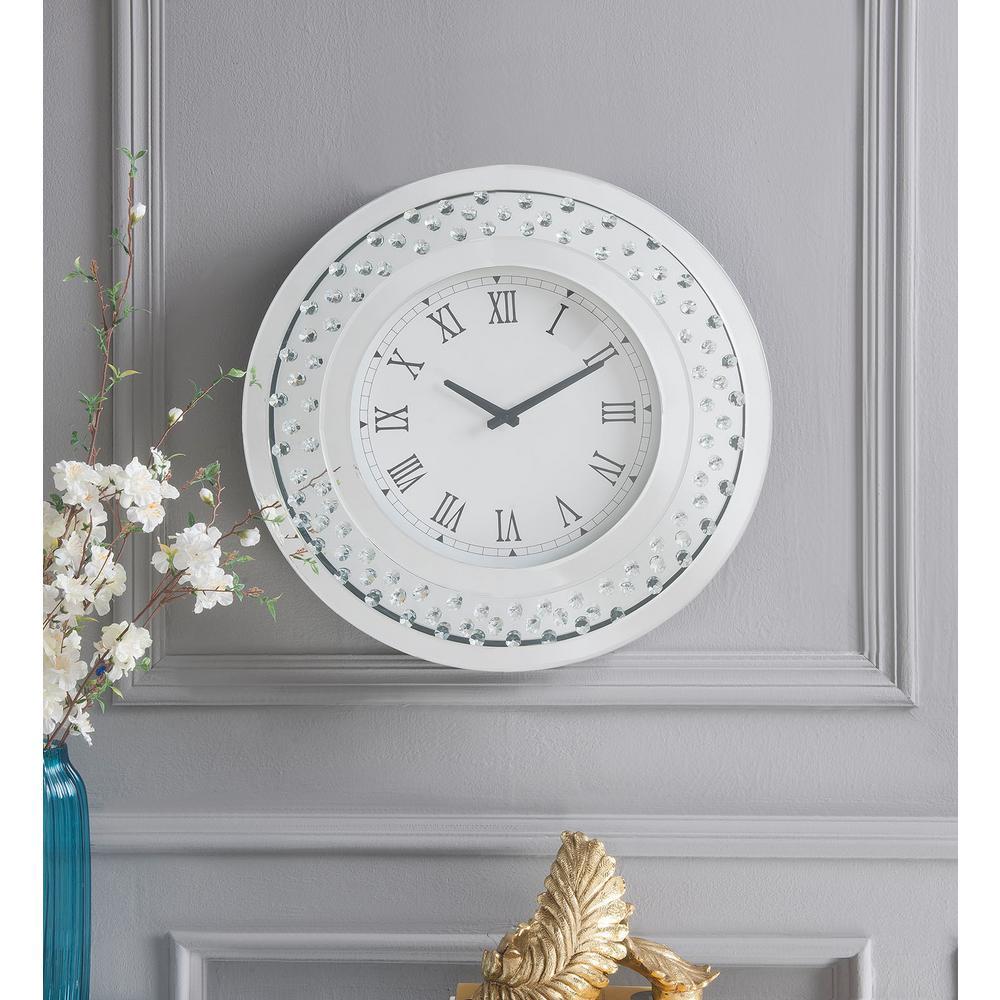 Lantana Mirrored and Faux Crystals Wall Clock