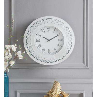 Nysa Mirrored and Faux Crystals Wall Clock