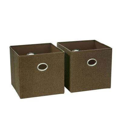 10.5 in. x 10 in. Brown Folding Storage Bin (2-Pack)