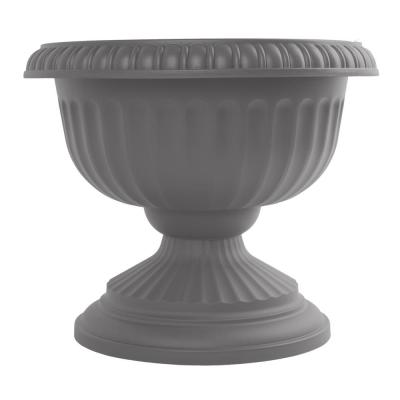 Grecian 12 in. x 10.5 in. Charcoal Plastic Urn Planter