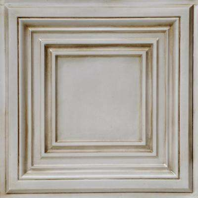 Washington Square 2 ft. x 2 ft. PVC Glue-Up or Lay-In Ceiling Tile in Antique White