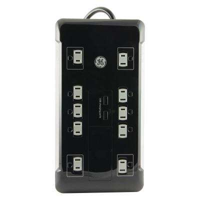10-Outlet 2 USB Surge Protector with 4 ft. Cord