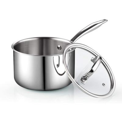 3 qt. Tri-Ply Clad Stainless Steel Sauce Pan with Glass Lid