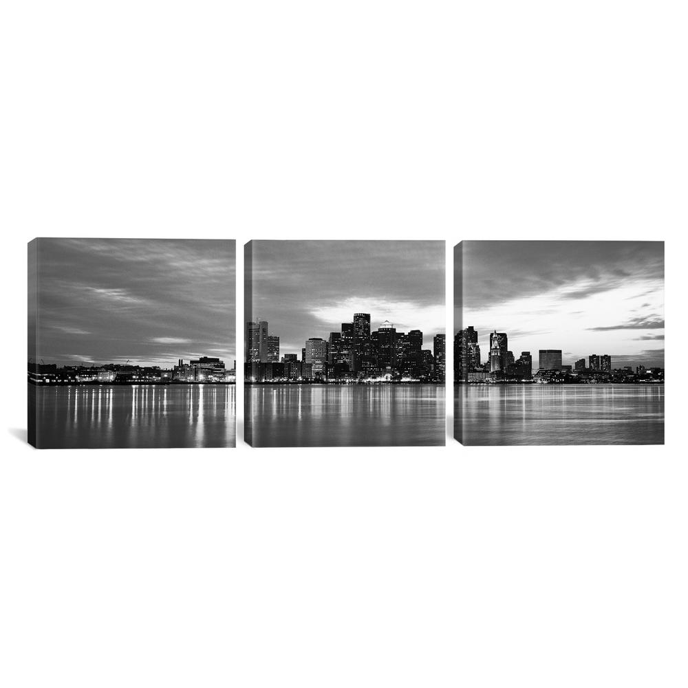 Boston panoramic skyline cityscape black by unknown artist canvas wall art