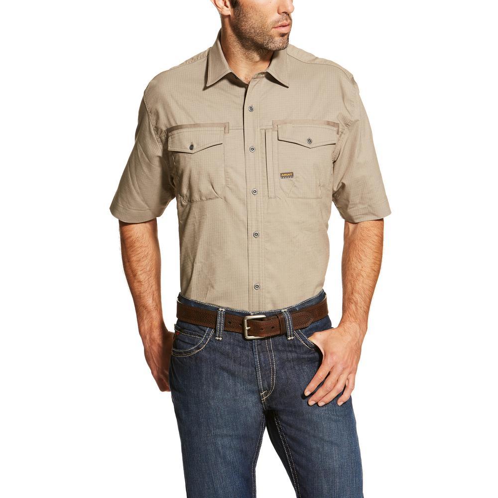 Ariat Men's Large Brindle Rebar Short Sleeve Work Shirt