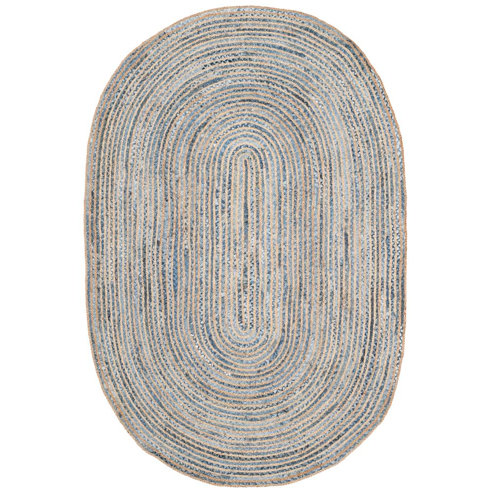 Cape Cod Natural/Blue 8 ft. x 10 ft. Oval Area Rug