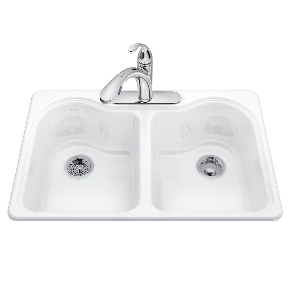 Hartland Drop-in Cast-Iron 33 in. 3-Hole Double Bowl Kitchen Sink Kit