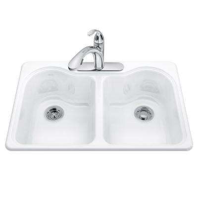 Hartland Drop-in Cast-Iron 33 in. 3-Hole Double Bowl Kitchen Sink Kit in White