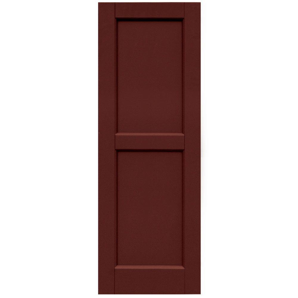 Winworks Wood Composite 15 in. x 43 in. Contemporary Flat Panel Shutters Pair #650 Board and Batten Red