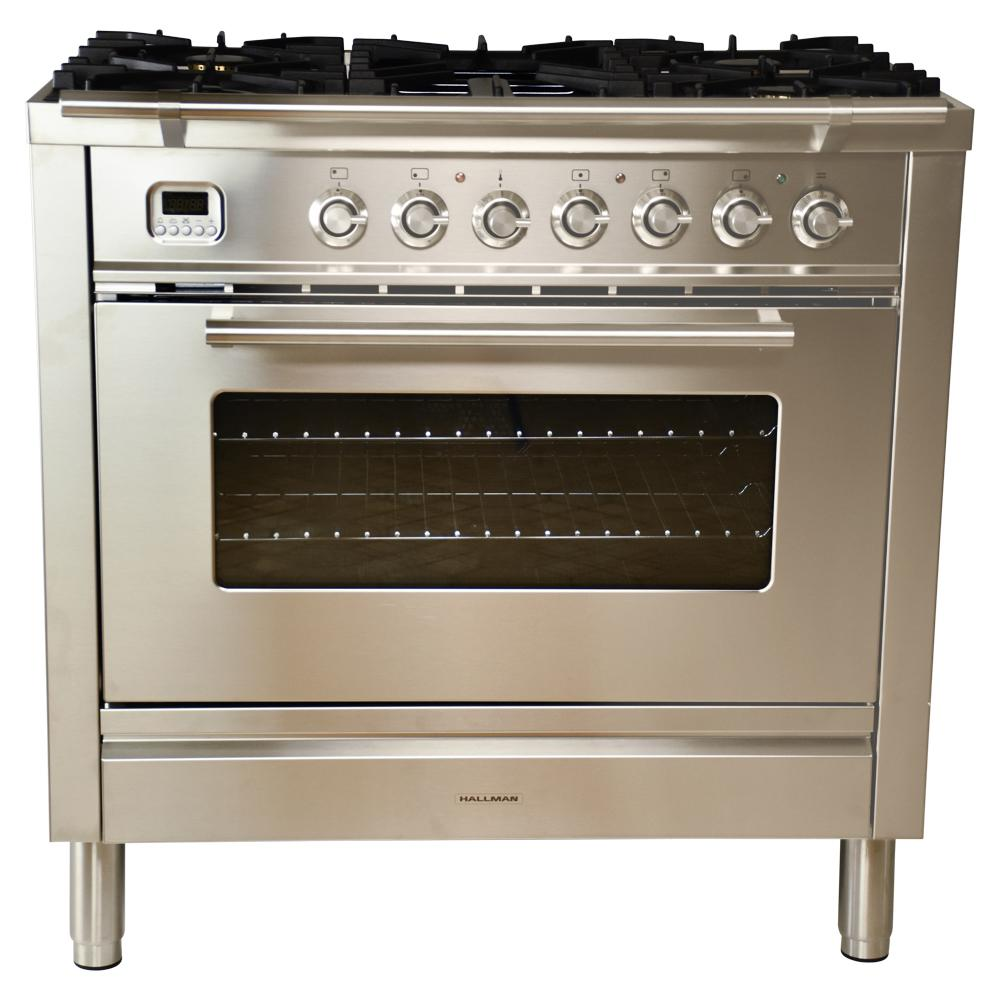 36 in. 3.55 cu. ft. Single Oven Dual Fuel Range with