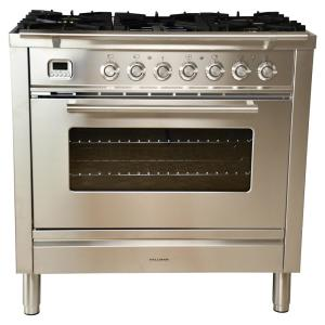 Hallman 36 inch 3.55 cu. ft. Single Oven Dual Fuel Range with True Convection, 5 Burners, and Griddle in Stainless Steel by Hallman