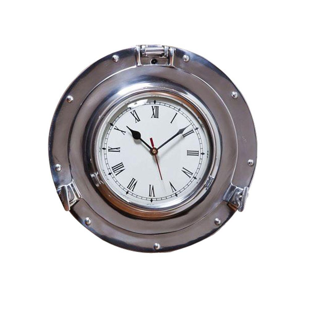 Home Decorators Collection 11 in. W Porthole Silver Wall Clock