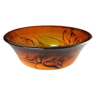Floral Firelight Vessel Sink in Yellow