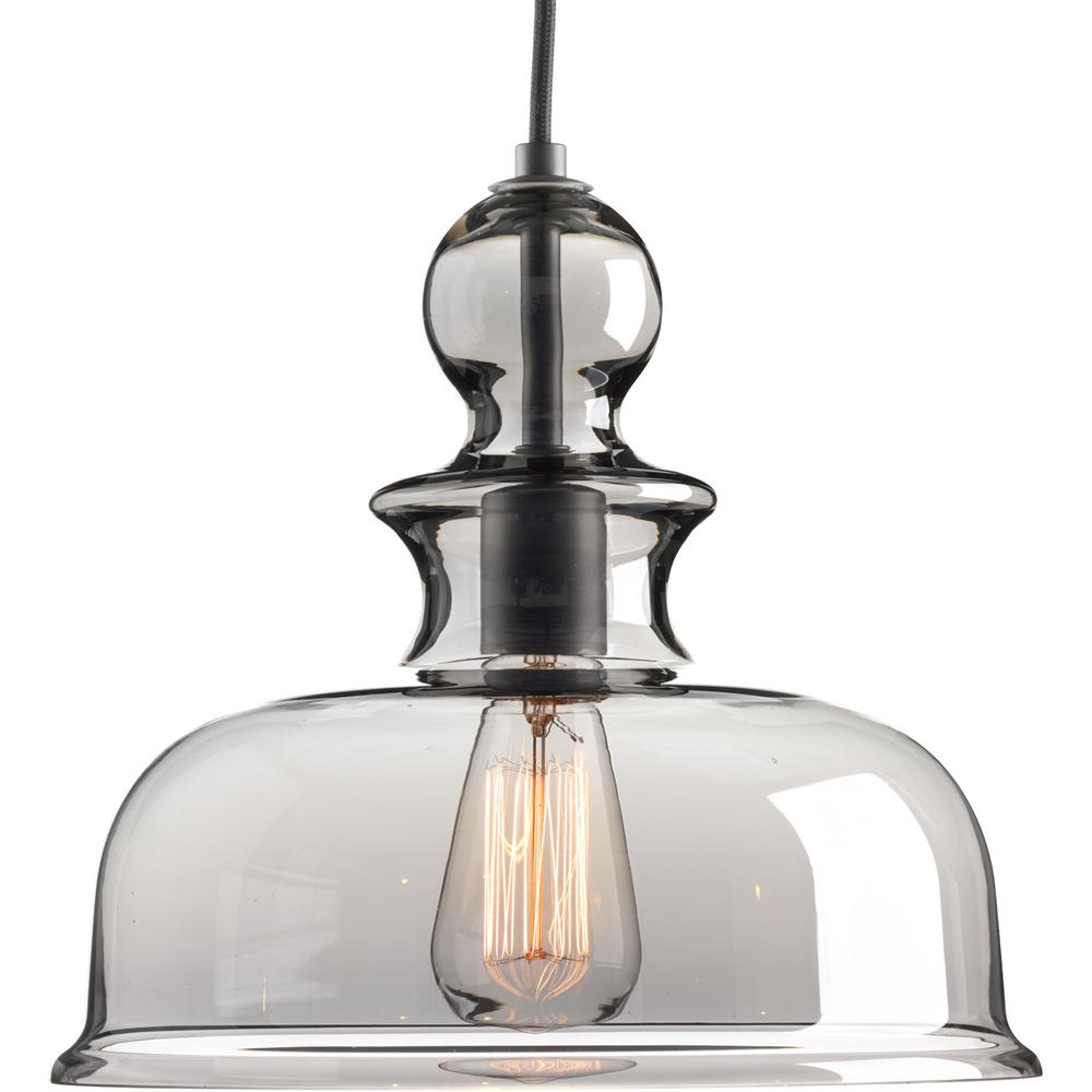 Progress Lighting Staunton Collection 1 Light Graphite Pendant With Smoke Gl