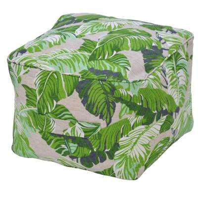 Fern Tropical Ogee Outdoor Pouf Cushion