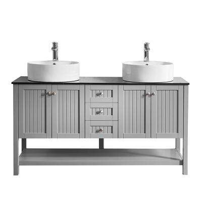 Modena 60 in. W x 20 in. D Vanity in Grey with Glass Vanity Top in Black with White Basin