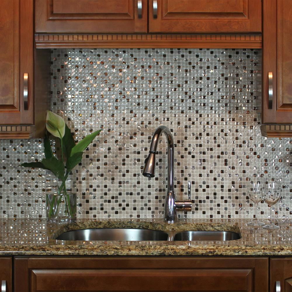 Smart tiles minimo cantera approximately 3 in w x 3 in h beige smart tiles minimo cantera approximately 3 in w x 3 in h beige and bronze self adhesive decorative wall tile backsplash sample samsm1068 the home depot amipublicfo Gallery
