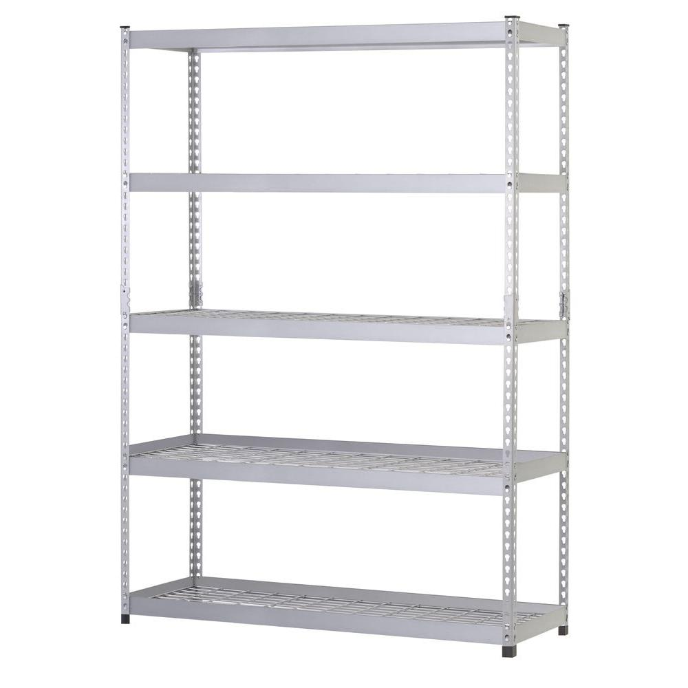 husky 78 in h x 48 in w x 24 in d 5 shelf steel unit mr482478w5 rh homedepot com steel storage for garage stainless steel shelves for garage