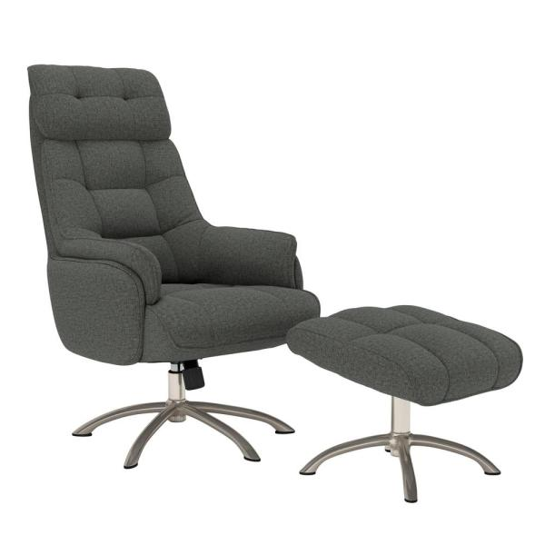 Colin Contemporary in Charcoal Gray Tweed Swivel Rocker Chair and Ottoman Set