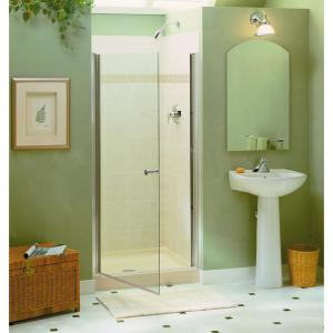 Sterling Finesse 34 In X 65 1 2 Semi Frameless Pivot Shower Door Silver With Handle 6305 34s The Home Depot