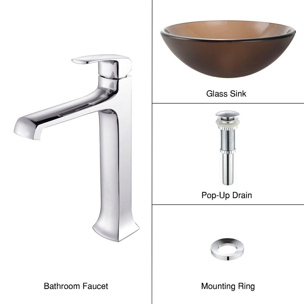 KRAUS Vessel Sink in Frosted Glass Brown with Decorum Faucet in Chrome