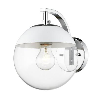 Dixon 1-Light Chrome with Clear Glass and White Cap Sconce