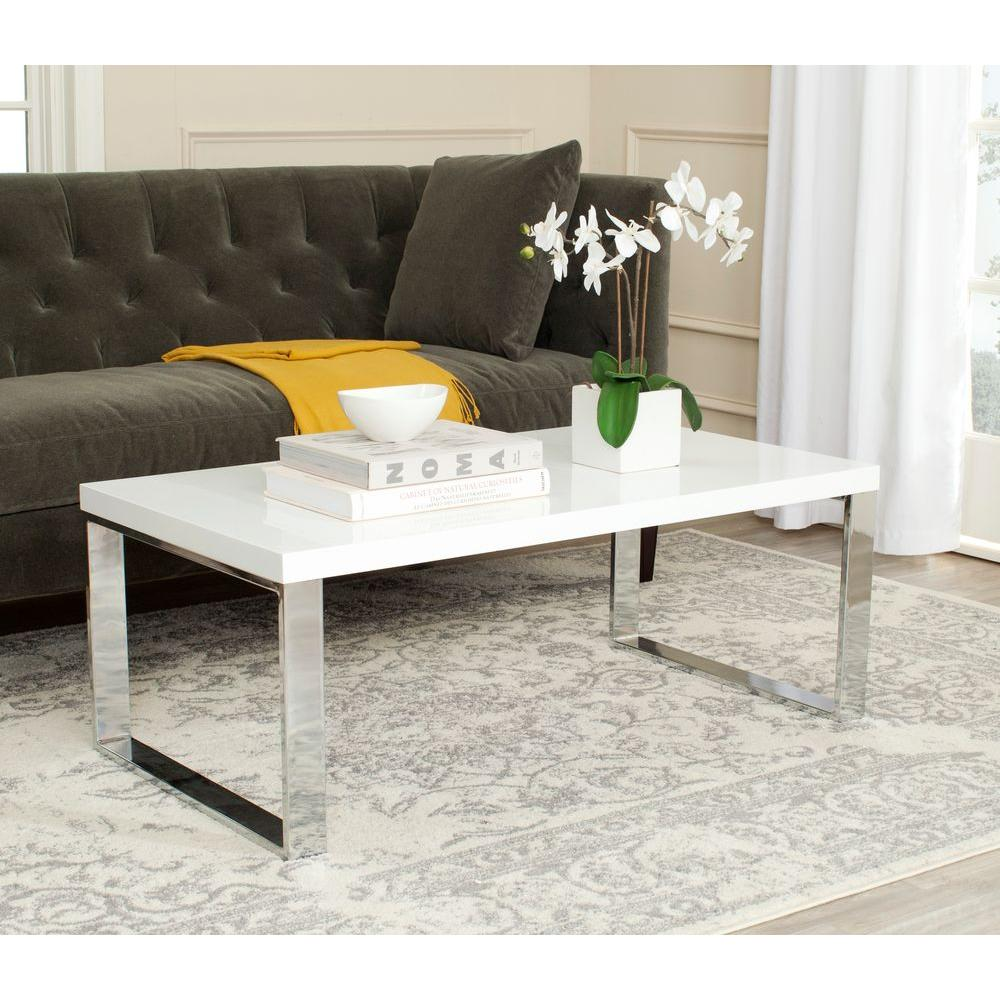 Safavieh Rockford White Coffee Table-FOX2215A - The Home Depot