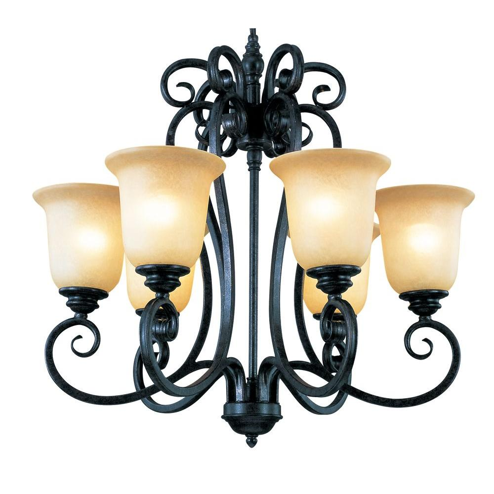 Bel Air Lighting Stewart 9 Light Rubbed Oil Bronze Cfl Chandelier With Tea Stained Shades