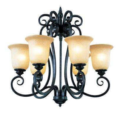 Stewart 9-Light Rubbed Oil Bronze CFL Chandelier with Tea Stained Shades